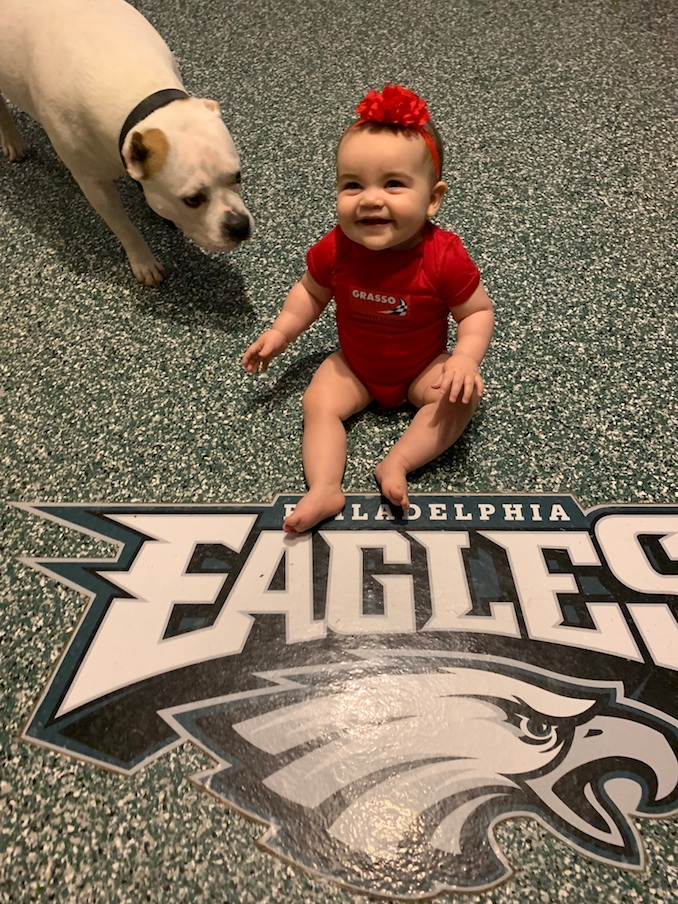 Garage Floor Epoxy With Eagles Logo