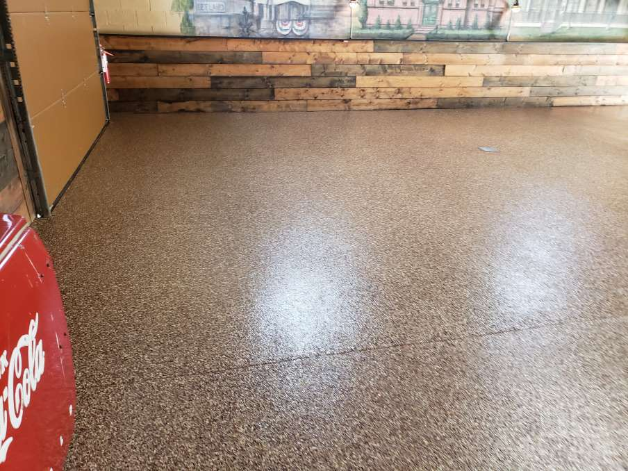 Epoxy Flake System Installed On Man Cave Floor