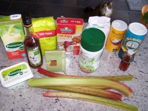 Ingrediënten vegan rabarbercake