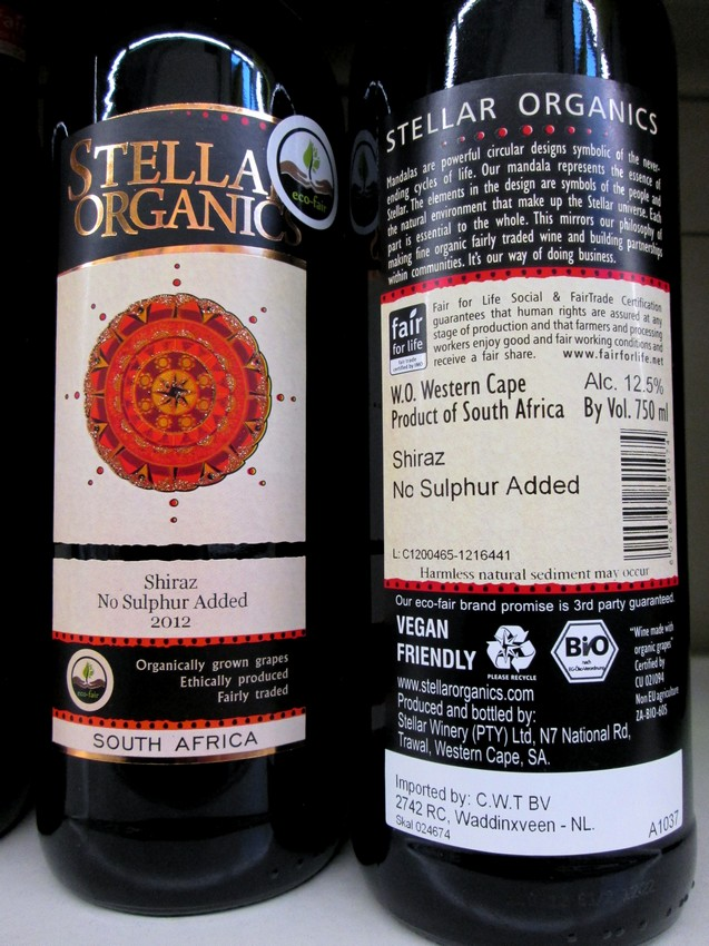 Stellar Organic (Zuid-Afrikaanse wijn) met 'Vegan Friendly' label
