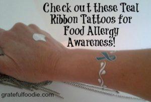 Teal Ribbon food allergy tat