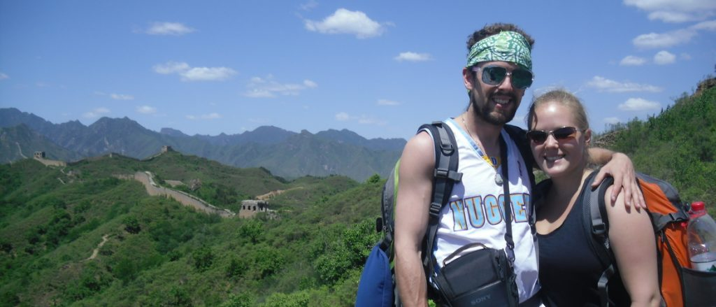 Camping on the Great Wall of China.