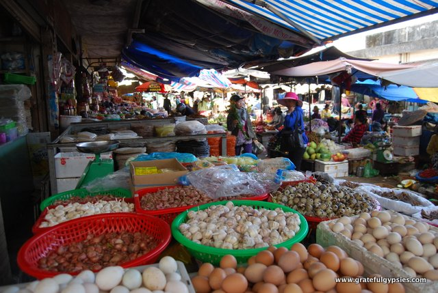 A variety of sights, smells, and sounds at the local market.