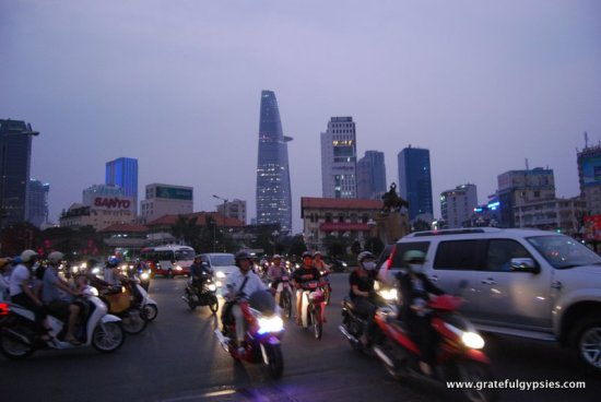 Slightly chaotic traffic in Saigon.