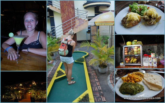 Winning a round of mini golf and enjoying the food and bev.