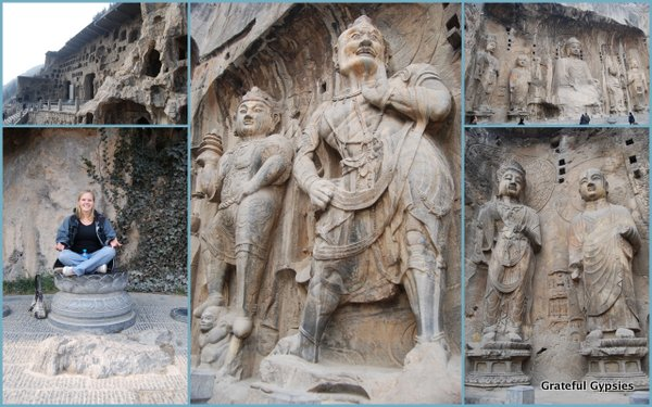 A collage of the amazing Longmen Grottoes.
