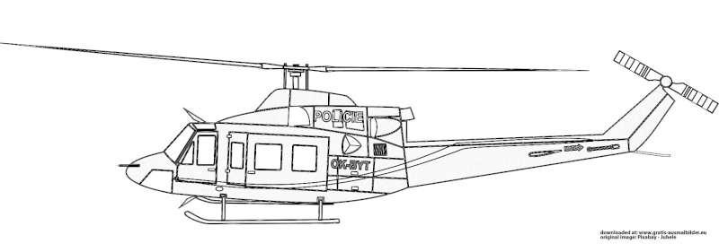 Polizei-Hubschrauber - Gratis Ausmalbild