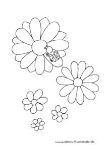 Ausmalbild Kleiner Marienkäfer mit bunten Blumen - Gratis