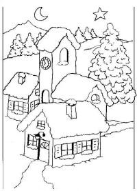 Paesaggi di Natale da colorare | Disegni Gratis