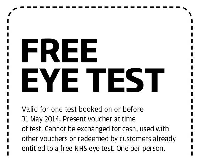 Free Eye Test at Specsavers valid until 31st August 2014