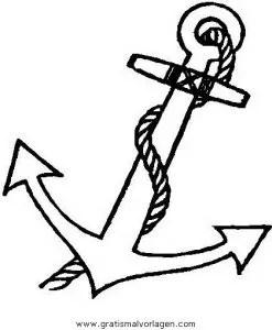 Anker 3 gratis Malvorlage in Schiffe Transportmittel
