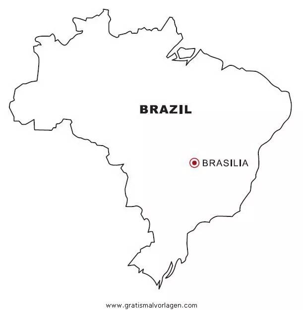 Landkarte Brasilien gratis Malvorlage in Geografie ...