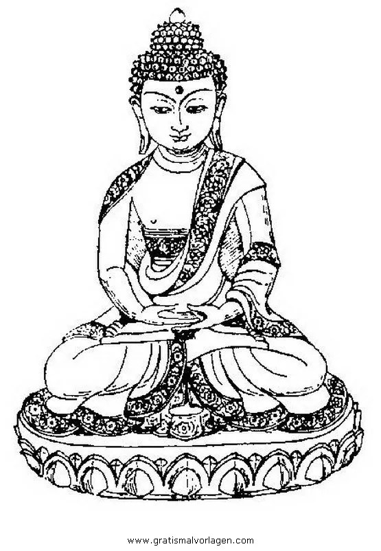 Buddha 02 gratis Malvorlage in Buddha Religionen - ausmalen