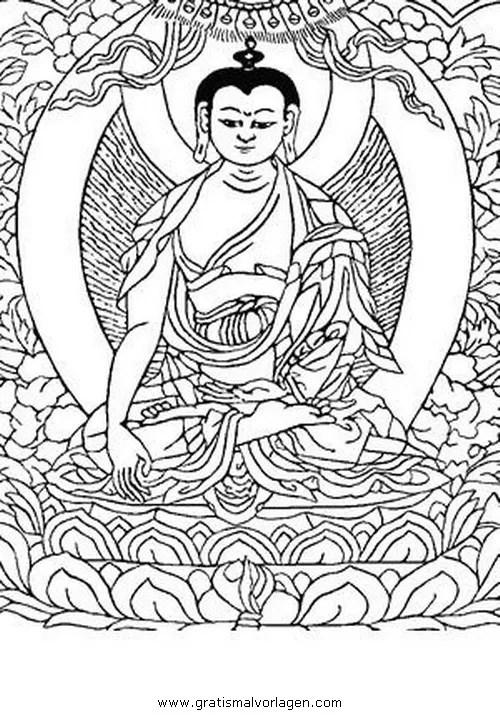 Buddha 09 gratis Malvorlage in Buddha Religionen - ausmalen