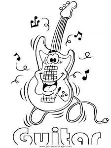 Gitarre 3 gratis Malvorlage in Diverse Malvorlagen Musik