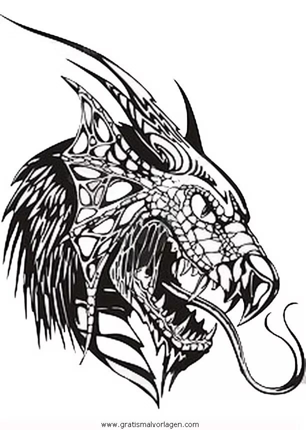Drachenkopfe 3 Gratis Malvorlage In Drachen Fantasie
