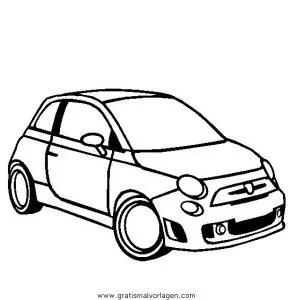 fiat 500 gratis Malvorlage in Autos, Transportmittel