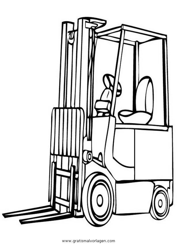 Gabelstapler 3 gratis Malvorlage in Baumaschinen