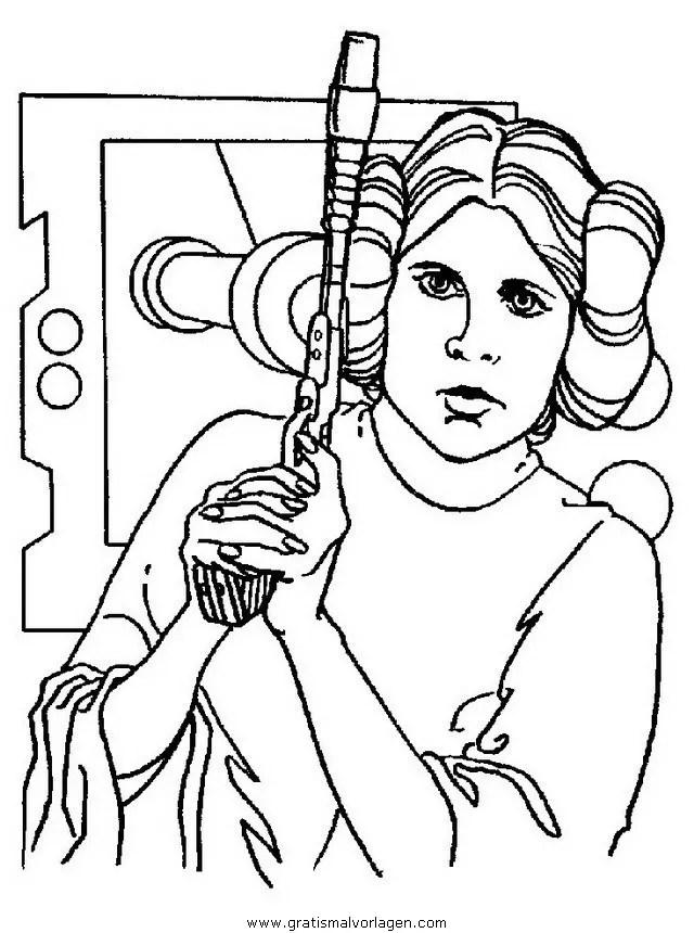 Prinzessin Leia gratis Malvorlage in Science Fiction Star