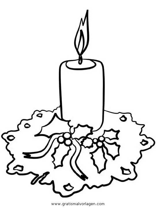 Kerze 43 gratis Malvorlage in Kerzen Weihnachten - ausmalen