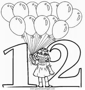 Luftballon 22 gratis Malvorlage in Feste Geburtstag