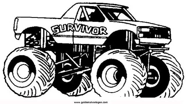 Monstertruck 2 Gratis Malvorlage In Lastwagen