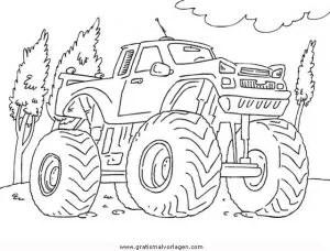Monstertruck gratis Malvorlage in Lastwagen
