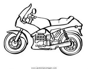 Motorrad 14 gratis Malvorlage in Motorrad Transportmittel