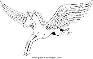 Pegasus 08 gratis Malvorlage in Fantasie Pegasus - ausmalen