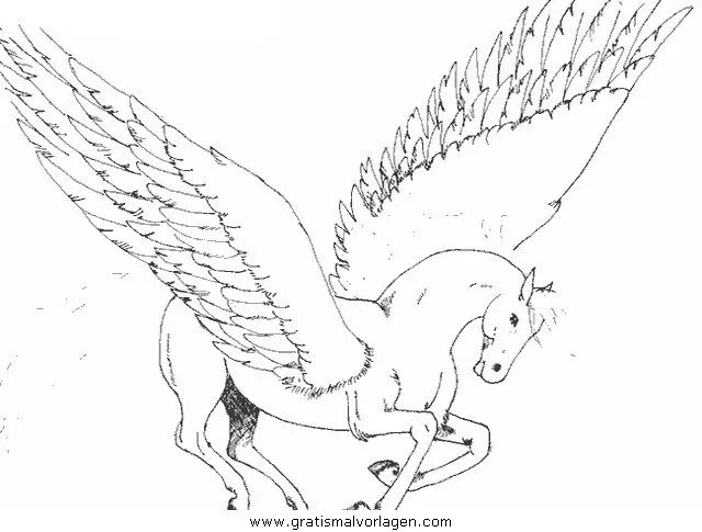 Pegasus 35 gratis Malvorlage in Fantasie Pegasus - ausmalen