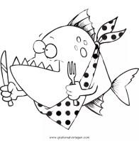 piranha 0 gratis Malvorlage in Fische, Tiere   ausmalen