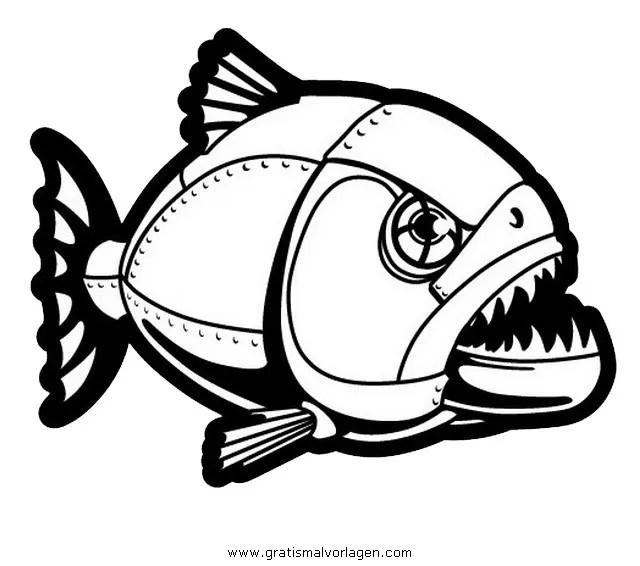 Piranha 1 gratis Malvorlage in Fische Tiere - ausmalen