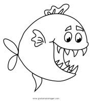 piranha 6 gratis Malvorlage in Fische, Tiere   ausmalen