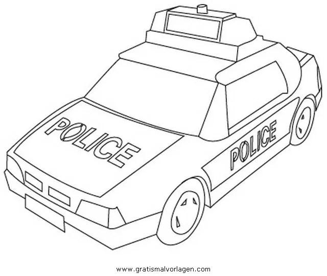 Polizeiauto 3 gratis Malvorlage in Autos Transportmittel