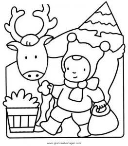 Rentier 42 gratis Malvorlage in Rentier Weihnachten