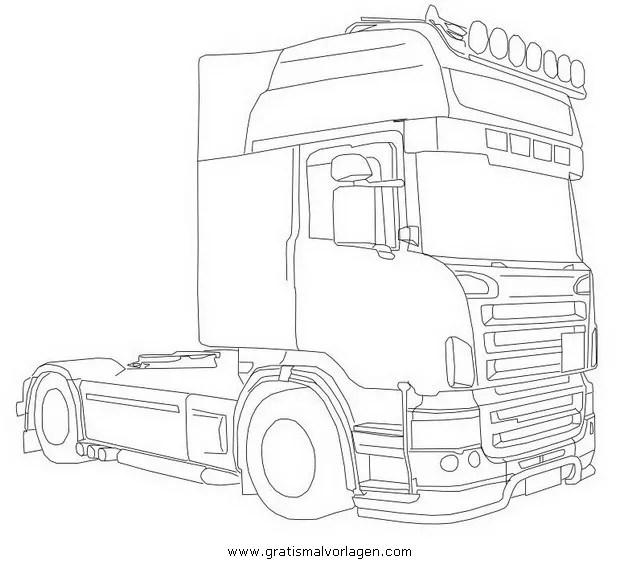 Scania gratis Malvorlage in Lastwagen Transportmittel