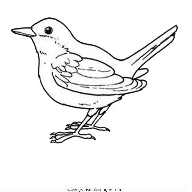 Singvogel 02 gratis Malvorlage in Tiere Vögel - ausmalen