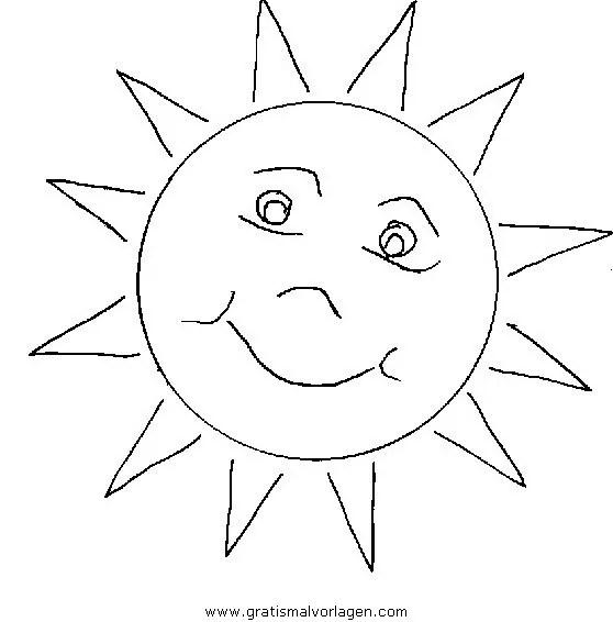 Sonne gratis Malvorlage in Natur Sommer - ausmalen
