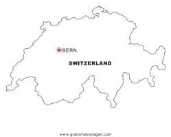 Landkarte Schweiz gratis Malvorlage in Geografie ...