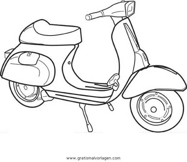 Vespa 13 gratis Malvorlage in Motorrad Transportmittel