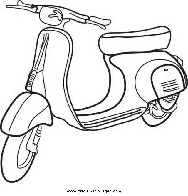 Vespa 14 gratis Malvorlage in Motorrad Transportmittel