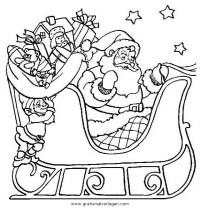 ausmalbilder weihnachtsmann mit rentierschlitten - malbild