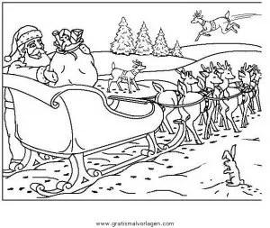 Rentierschlitten Ausmalbild Weihnachtsmann Mit Schlitten