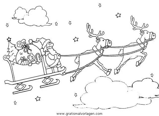 Malvorlagen Weihnachtsmann Mit Schlitten - Zeichnen und Färben