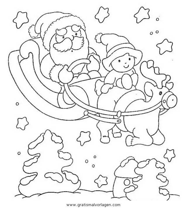 Weihnachtsmanner schlitten 35 gratis Malvorlage in