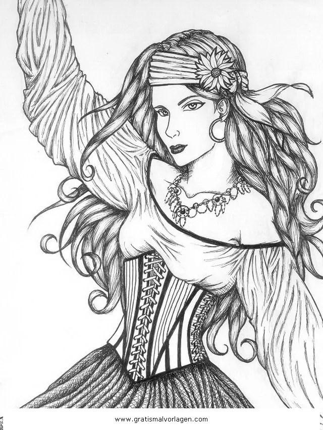 Zigeuner 9 gratis Malvorlage in Mädchen Menschen - ausmalen