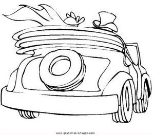 Vorlage Hochzeitsauto Zeichnung