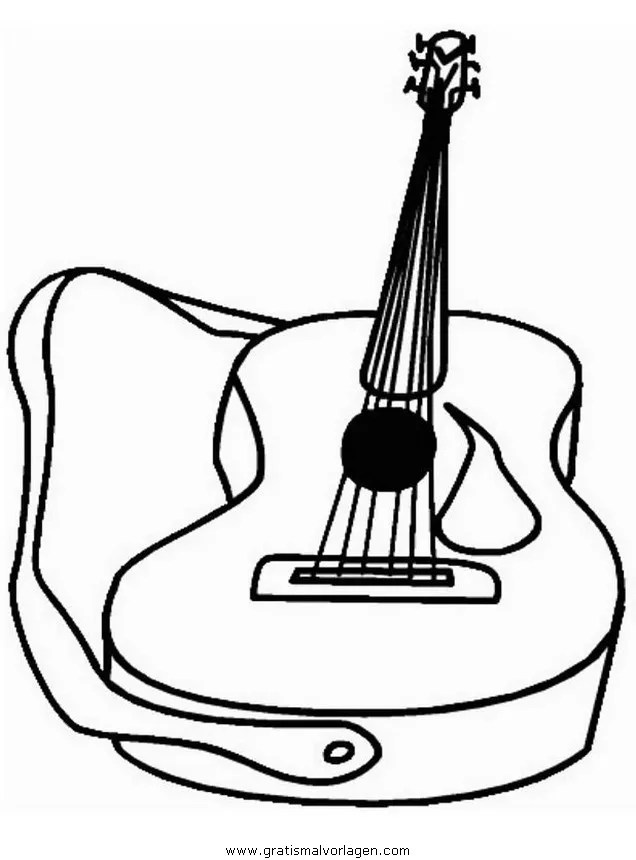 Gitarre 1 gratis Malvorlage in Diverse Malvorlagen Musik