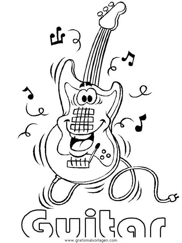E-Gitarre gratis Malvorlage in Diverse Malvorlagen Musik