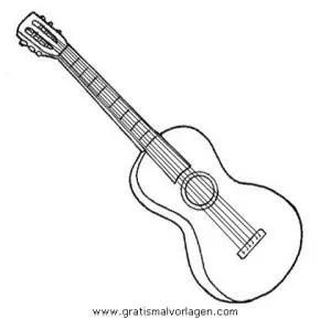Gitarre 4 gratis Malvorlage in Diverse Malvorlagen Musik